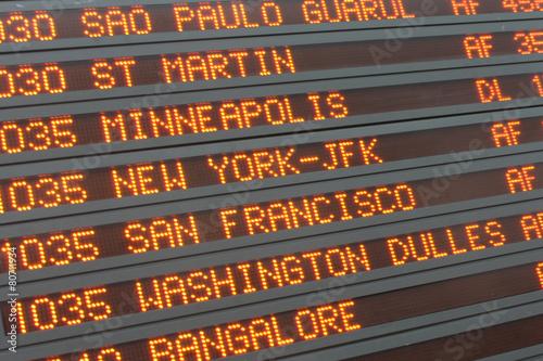 Fotografie, Obraz  Aéroport - Airport timetable