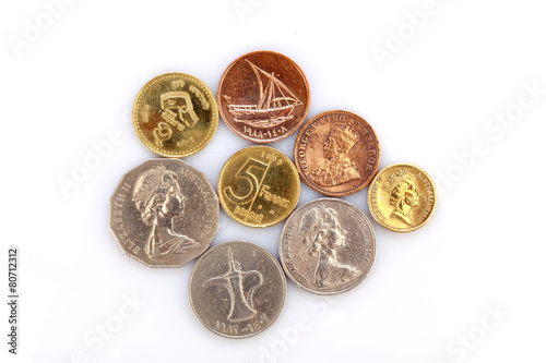 Different coins collection on white background Poster