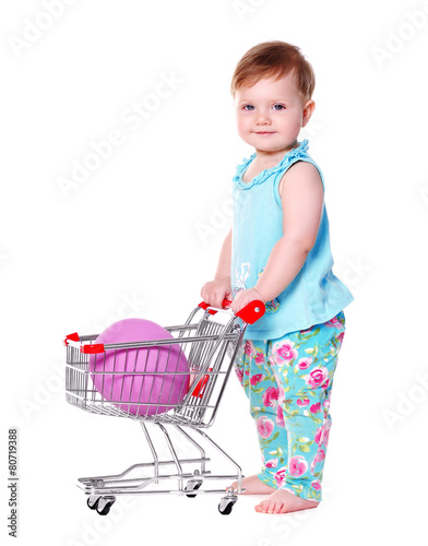 239429d95 baby girl holding shopping trolley with easter egg in it - Buy this ...