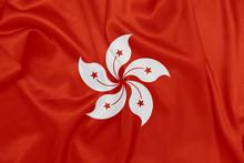 Hong Kong - Waving National Flag On Silk Texture