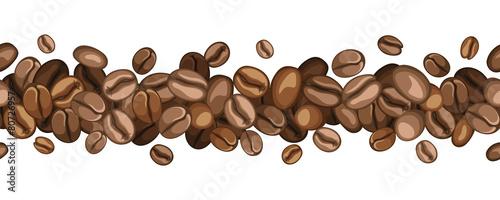 Slika na platnu Vector horizontal seamless background with coffee beans.