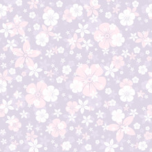 Vector Seamless Pattern With White And Pink Flowers On Purple.