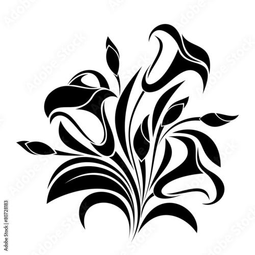 streszczenie-kwiaty-sylwetka-wektor-czarny
