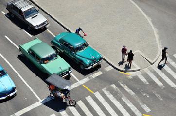 Road crossing top view