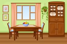 Dining Room Interior With Tabl...