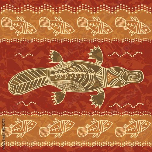 Canvas Print Platypus and fish tribal pattern