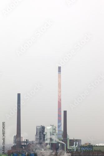 Staande foto Industrial geb. Smokestack, grey sky, emission, industry