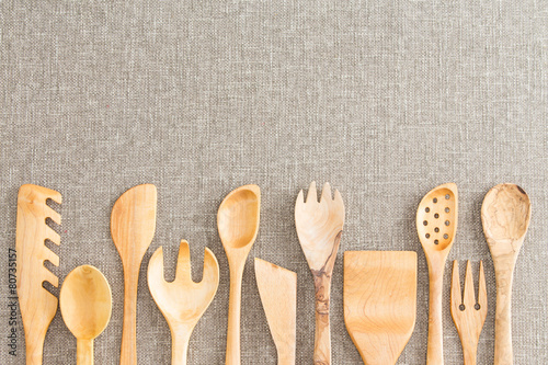 Fotografie, Obraz  Border of wooden kitchen necessities