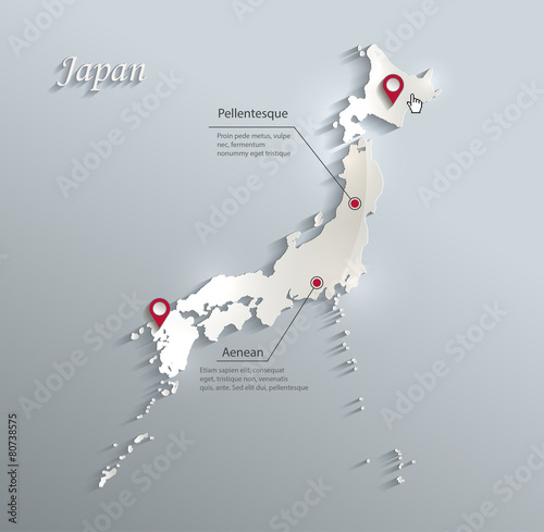 Photo Japan map blue white card paper 3D vector infographics vector