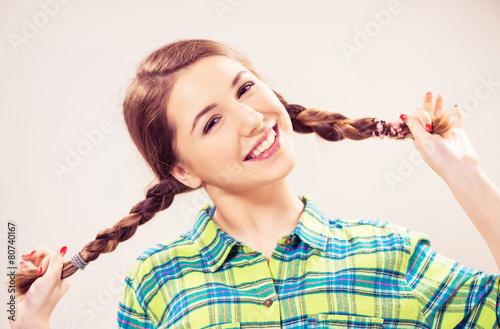 Teen girl in pigtails, Asian girls big ass