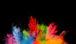 canvas print picture - colored dust explosion on black background