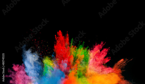 colored dust explosion on black background Tapéta, Fotótapéta
