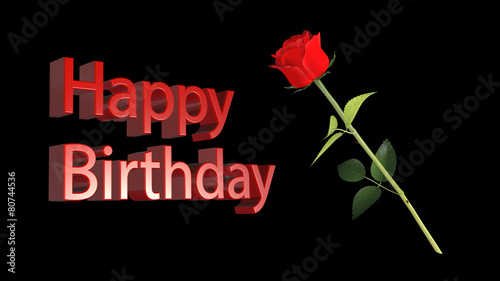 Happy Birthday Greeting With Red Rose On Black Background