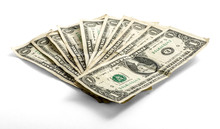 Fanned Used One Dollar Bills