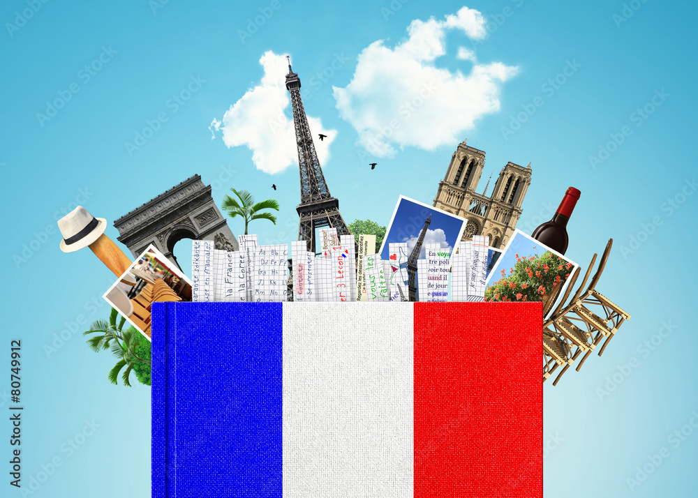 Fototapety, obrazy: French language, the book with the French flag and bookmarks