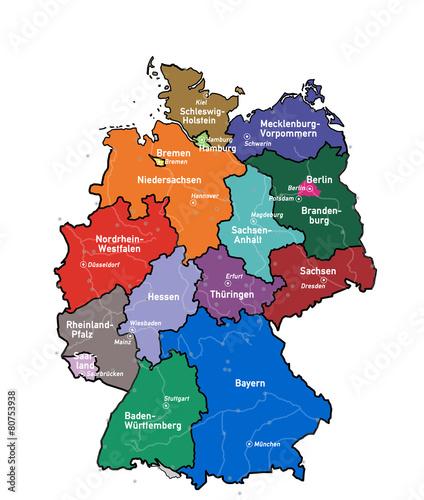 Kd5 Kartedeutschland Bundeslander Stadte Flusse G3484