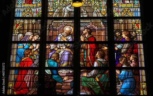 Stained Glass of The Sacrament of Confession or Penitance Wallpaper Mural