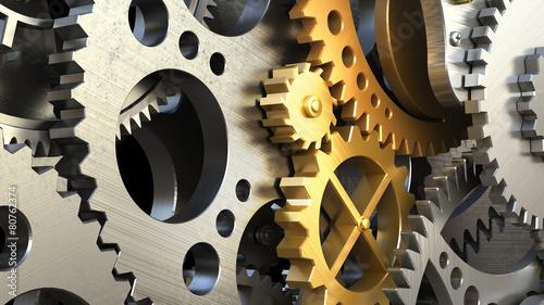 Photo  Close up clockwork mechanism or a machine inside.