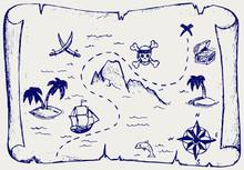 Map Of Treasure Island. Doodle...