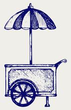 Ice Cream Cart. Doodle Style