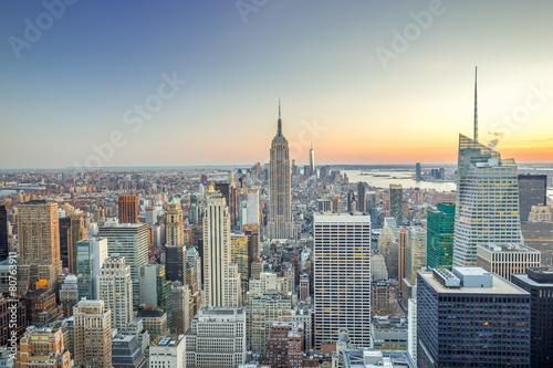Tuinposter New York City New York City Manhattan buildings skyline sunset