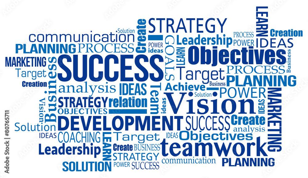 Fototapeta blue marketing business success concept word tag cloud