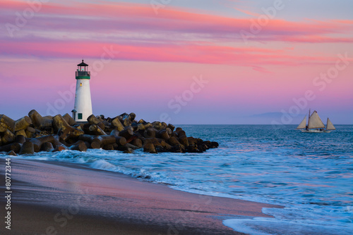 Photo sur Toile Phare Walton Lighthouse in Santa Cruz, California at sunset