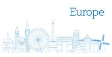 Europe Skyline Detailed Silhouette