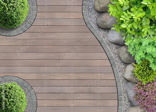 Gartenarchitektur Detail Von Oben Mit Steinbeet Acheter Cette