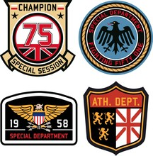 Set Of Police Medal Badges And Patches