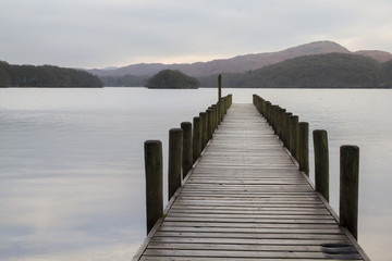 FototapetaWooden jetty in the lake district