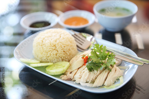 Photo  steamed chicken with rice , khao mun kai