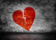 Shape Of Broken Heart On Brick...