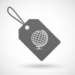 Shopping label icon with a world globe