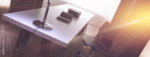 Obraz Warm sun flooding the office of a corporate CEO - fototapety do salonu