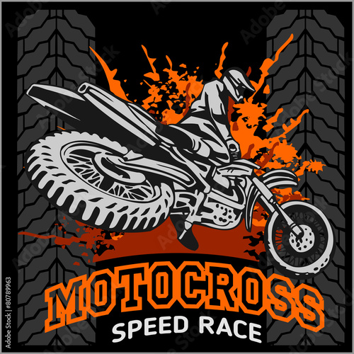 Photo  Motocross sport emblem