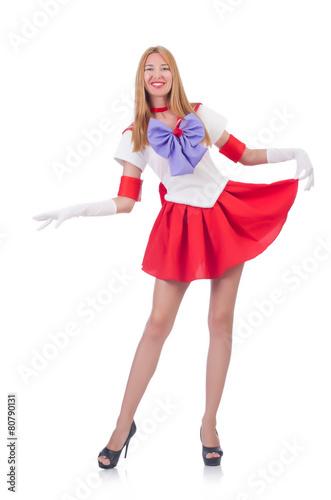 Fotografie, Obraz  Dívka v Sailor Moon obleku na bílém