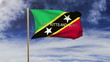Saint Kitts And Nevis flag with title waving in the wind