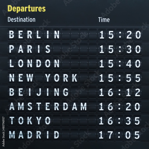 Ingelijste posters Luchthaven Flight destinations