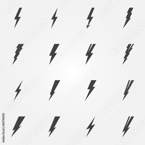 Photographie  Lightning black vector icons