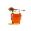 canvas print picture - Pot of honey and stick