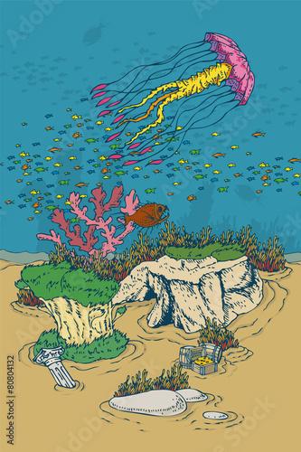 Tuinposter Dinosaurs Underwater World