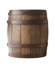 Old Wooden Barrel On A Brown B...