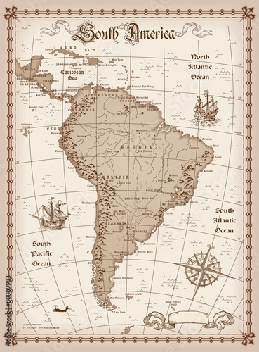 South America Map Vector Canvas Print