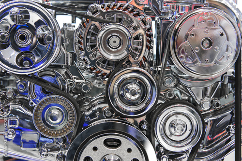 Engine with metal and chrome parts of sport car motor