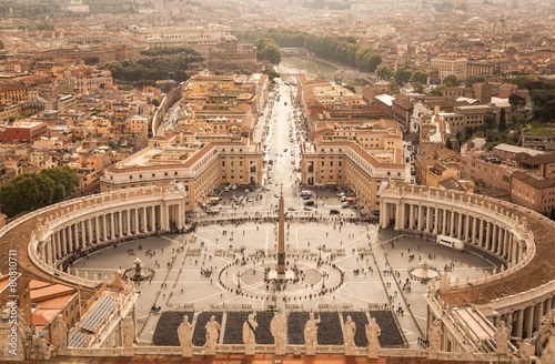 Poster Rome Panorama of Saint Peters Square in Rome from above