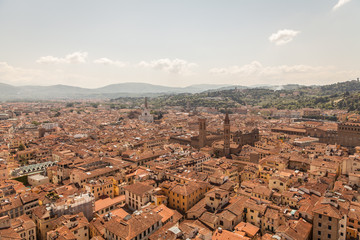 FototapetaAerial panorama of Florence Duomo dome and rooftops. Tuscany Ita