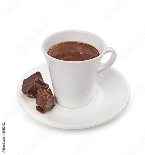 Spoed Foto op Canvas Chocolade Hot chocolate and chocolate pieces isolated on white background