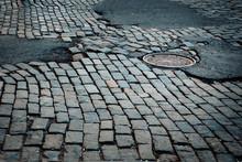 Rough Old Cobblestone Street In New York City
