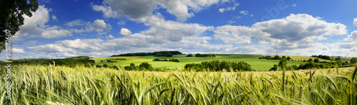 Fotobehang Bleke violet Saarland Panorama Natur –Landschaft bei Eiweiler